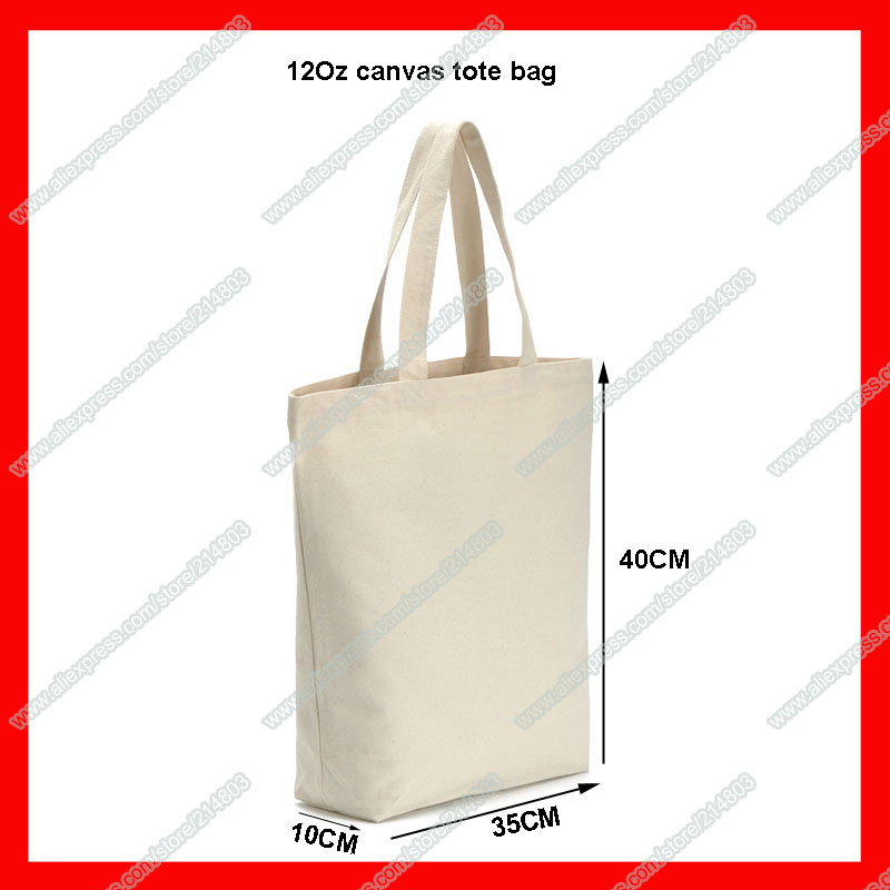 (200Pcs/Lot) Size 35X40x10cm Wholesale Blank Tote Cotton Canvas Bag With Custom Logo