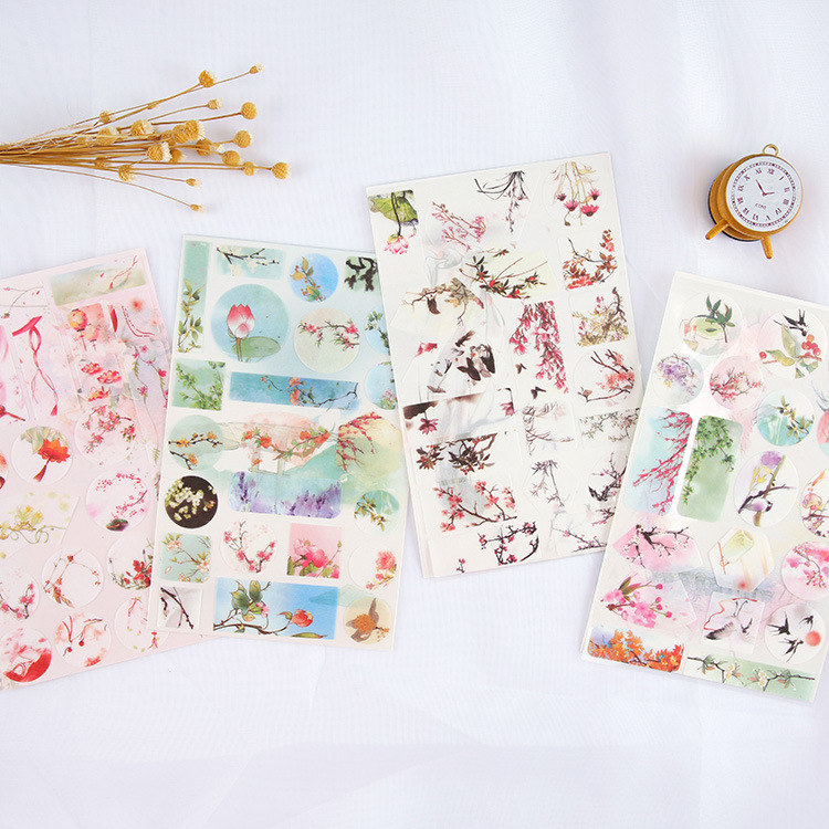 1PC Cute Chinese Style Ink And Wash Series Diary Decorative Planner DIY Diary Scrapbooking Phone Index Seal Stationery Stickers
