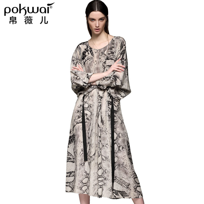 POKWAI High Quality Silk Printed Dress O neck Three Quarter Batwing Sleeve Loose Long Dress