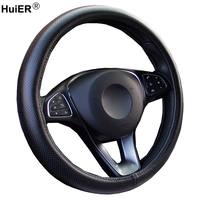3 Colors Universal Car Steering Wheel Cover Fashion Cow Leather Perforation Breathable Braid on the Steering wheel Car Styling