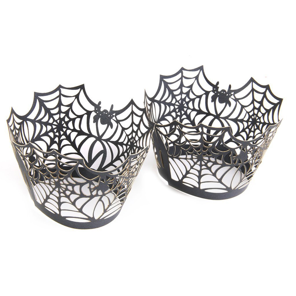 50pcs spiderweb laser cupcake wrappers wraps liners wedding birthday party halloween wrapper wedding decor birthday decoration - Halloween Cupcake Holder