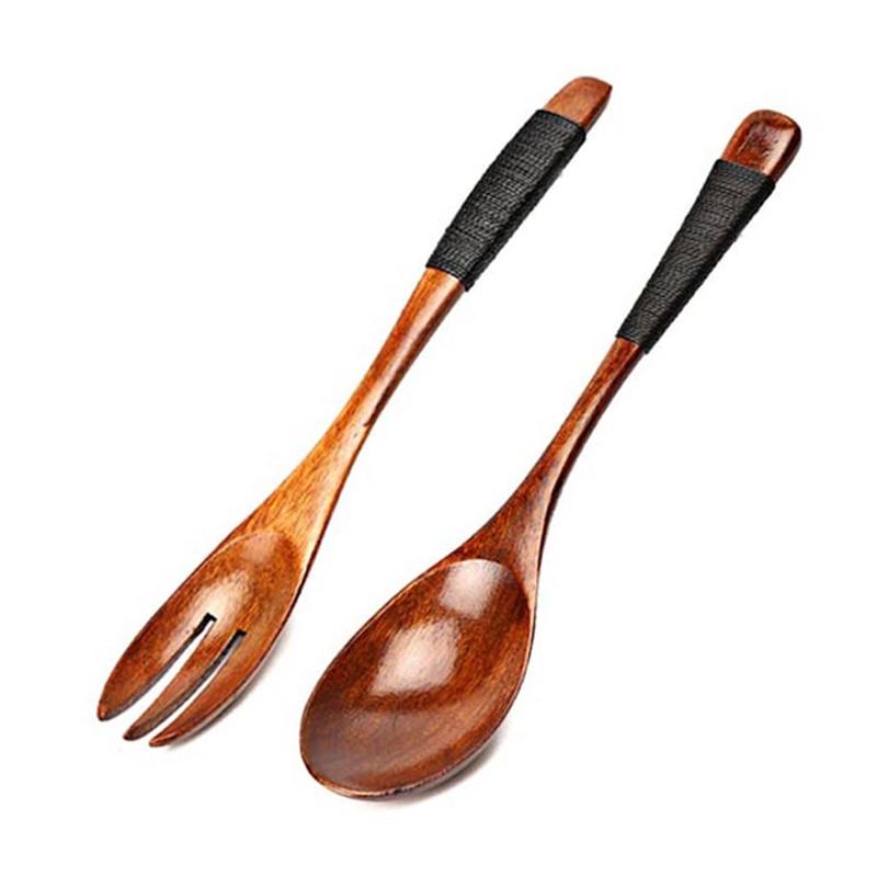 2pcs Wooden Spoons Large Long Handled Spoon Kids Spoon Wood Rice Soup Dessert Spoon, Wooden Utensils