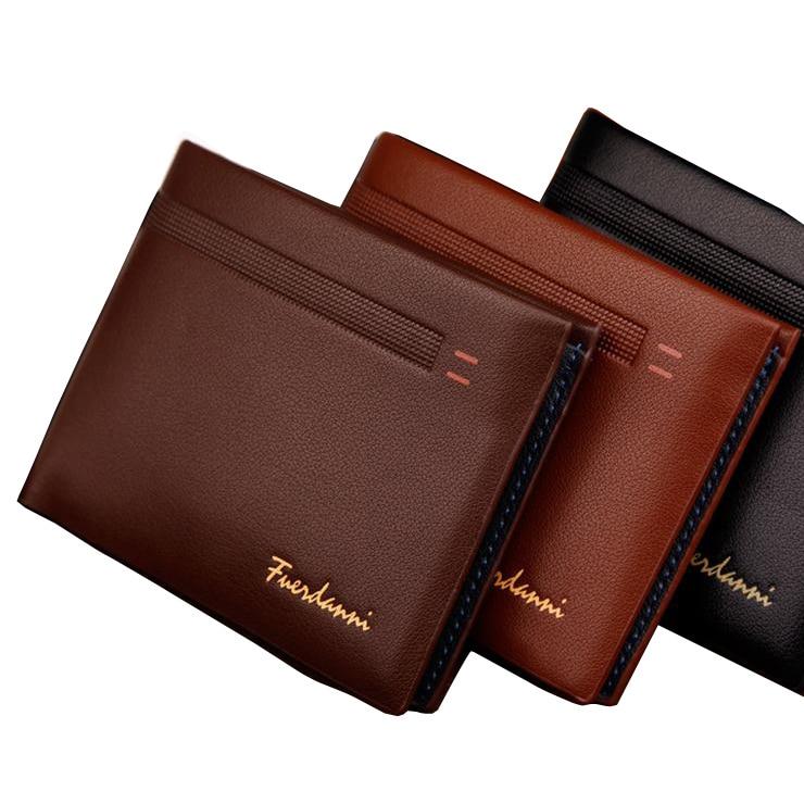 Fashion New Qulaity PU Leather Men Wallets 3 Fold Business Short Style Design Black Coffee Photo Bit Card Holder Purse Wallet wallet
