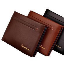 Fashion New Qulaity PU Leather Men Wallets 3 Fold Business Short Style Design Black Coffee Photo Bit Card Holder Purse Wallet(China)