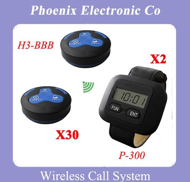 Sistema Localizador de Llamadas digitales Sistema de Restaurante de Paginación Del Sistema de Llamada de Buscapersonas 30 Unids H3-BBB Receptor de Bell Y 2 Unid P-300