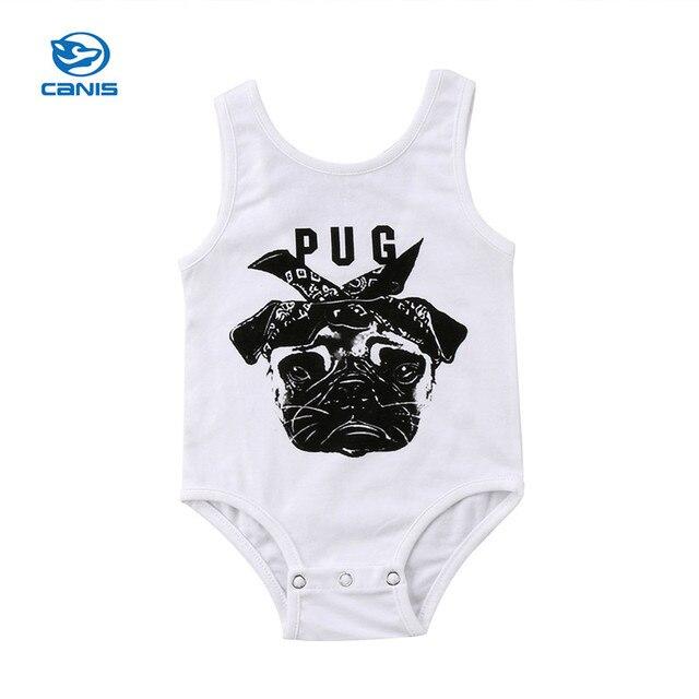 21ebf772a New Arrival Summer Newborn Baby Boy Girl Bulldog Print Vest Romper ...