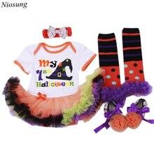 Niosung Halloween Baby Girl Prewalker Dress Hairband Socks Floral Romper Bodysuit Dress Clothes Halloween Party Kids Clothes