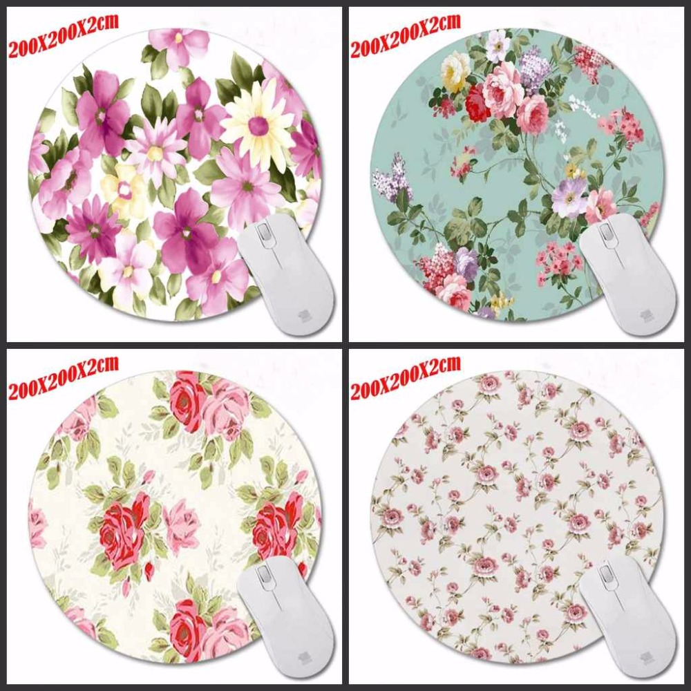 Direct Selling White Blue Flower Gaming Round Mousepad Custom Design Rubber Anti-Slip PC Computer Mouse Pad Speed Mice Play Mats