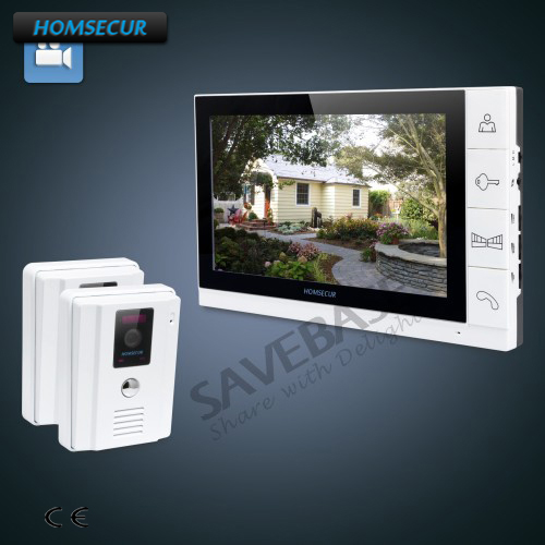 HOMSECUR 2V1 Kit with 9 Wired Hands-free Video Door Entry Security Intercom+White Camera