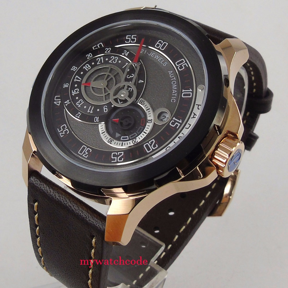 44mm Parnis black dial date PVD case Sapphire glass miyota Automatic Mens Watch цена и фото