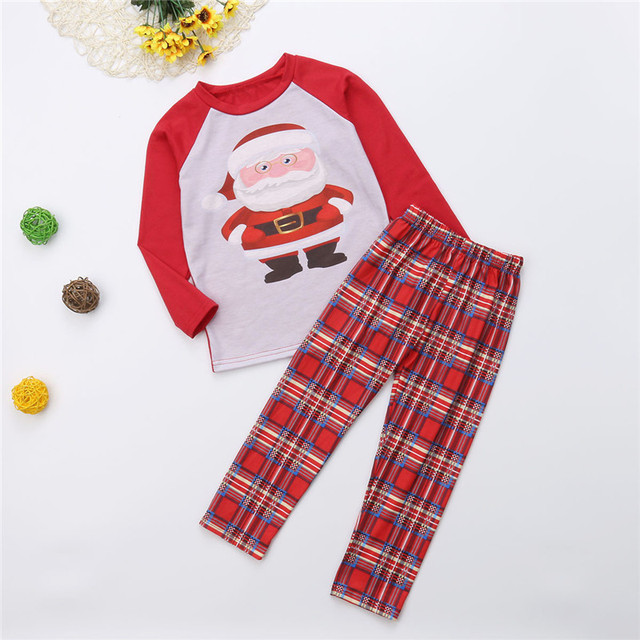 Family Christmas Pajamas set father mother girl boy Winter Parent-child Long-sleeved Tee Long Pants Print Xmas Cotton Sleepwear