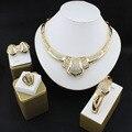 Perlas africanas Sistemas de La Joyería Fina Anillo de Oro Cristalino de La Boda Del Partido Del Collar Mujeres Moda Nupcial Pendientes Pulsera Accesorios