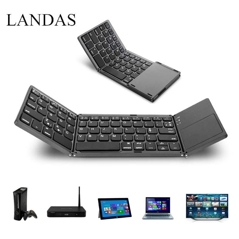 все цены на Landas Universal Bluetooth Folding Keyboard Touchpad Portable Tri Wireless Foldable Touchpad For IOS Windows Android Systems онлайн