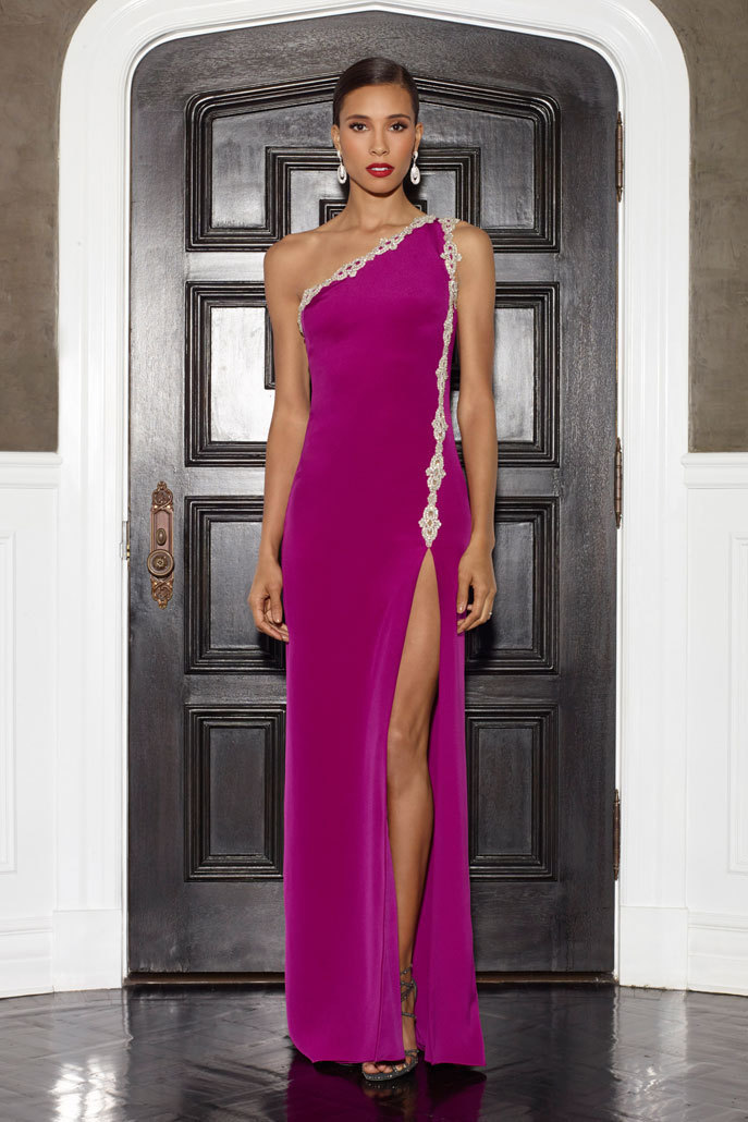 Custom Made 2015 Sexy un hombro Appliques de raso fucsia vestidos de noche con alta longitud