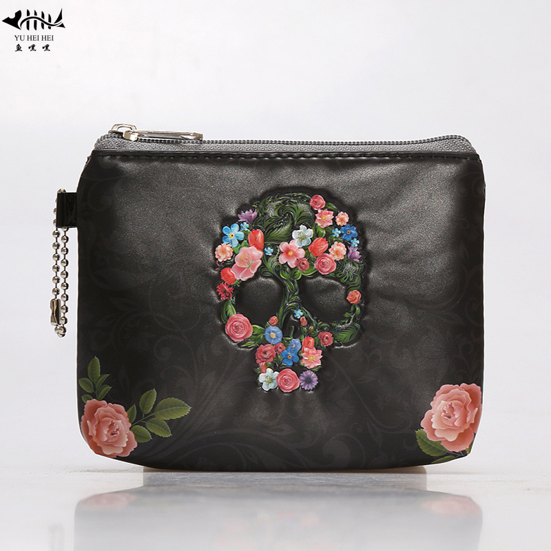 High Quality Pu Leather Coin Purse Mini Change Fashion 3d Skull Women Men Small Wallets Coin Purses World Map Zipper Free Ship Coin Purses