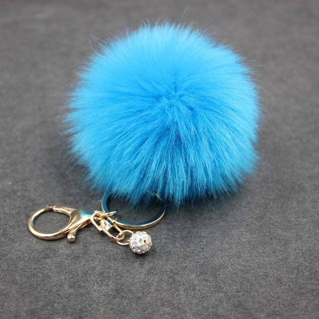 8 cm Fofo Falso Fur pompom Pérola Chaveiro chaveiro Pele pompom clef porte Para O Saco Encantos chaveiro llaveros sleutelhanger