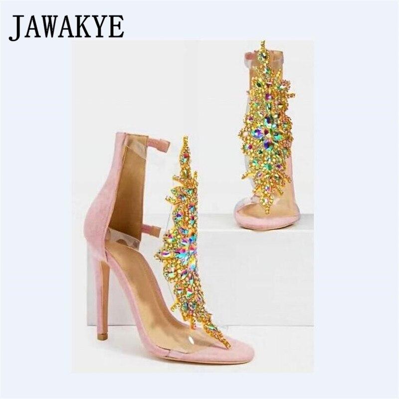 새로운 민족 라인 석 중공 여성 샌들 스웨이드 지퍼 커버 힐 샌들 여성 플립 플롭 얇은 발 뒤꿈치 stilettos 여성 여름-에서하이힐부터 신발 의  그룹 1