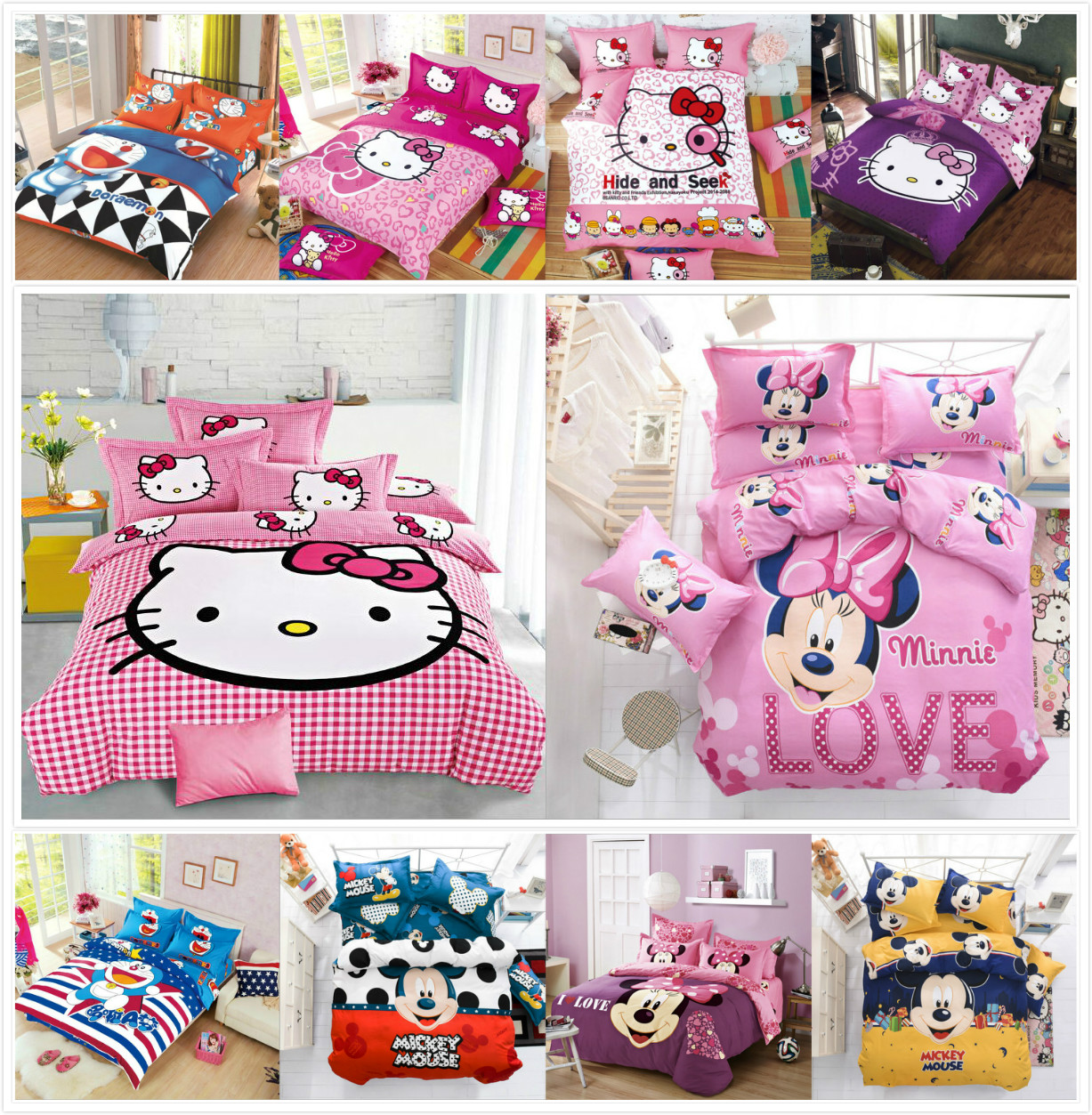 Cute mouse cat Hello Kitty Cartoon Creativity British style 4pcs/3pcs Duvet Cover Sets Soft Polyester Bed Linen Flat Bed Sheet