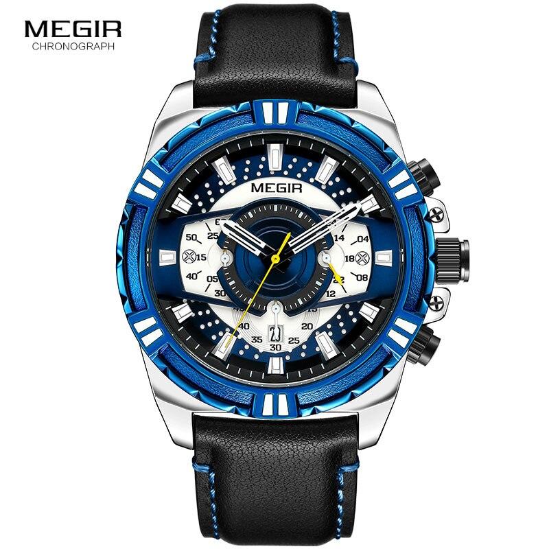 MEGIR Men's Leather Strap Army Sports Casual Watches Waterproof Luminous Army Wristwatch Man Relogios Masculino Clock 2118 Blue