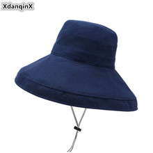 XdanqinX 2019 Summer New Womens Bucket Hats Elegant Fashion Beach Hat For Women Foldable Oversized Visor Adult Woman Sun