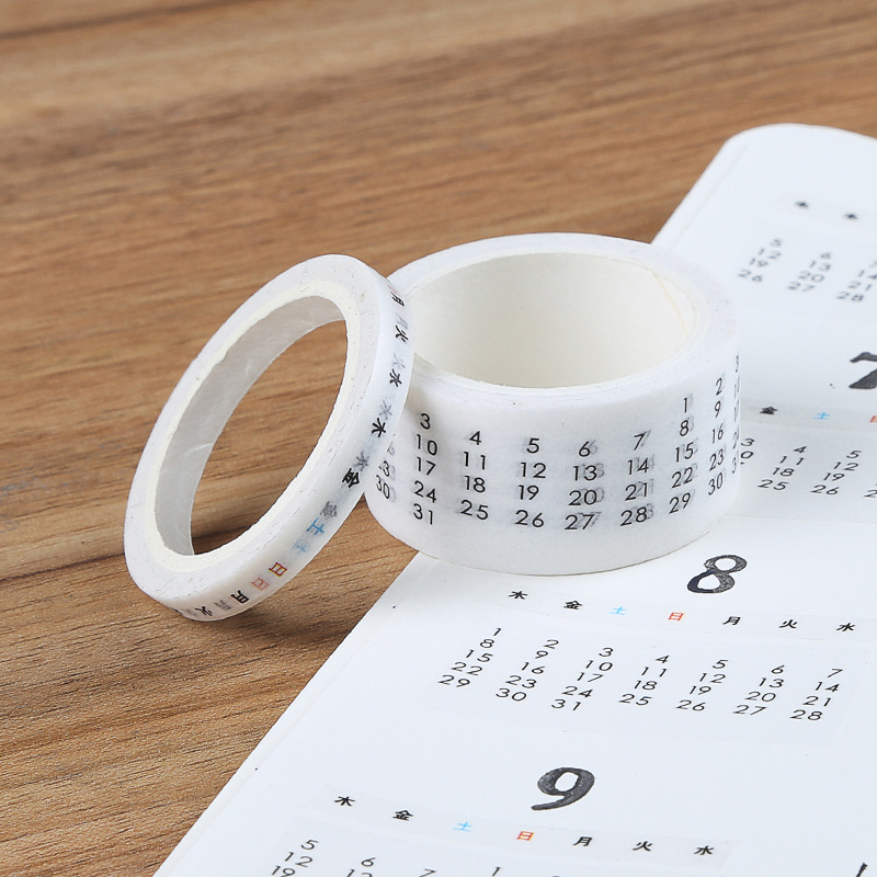 2 Pcs/set Date Week Calendar Washi Tape Planner Masking Tape Journal Supplies Scrapbooking Paper Stationary