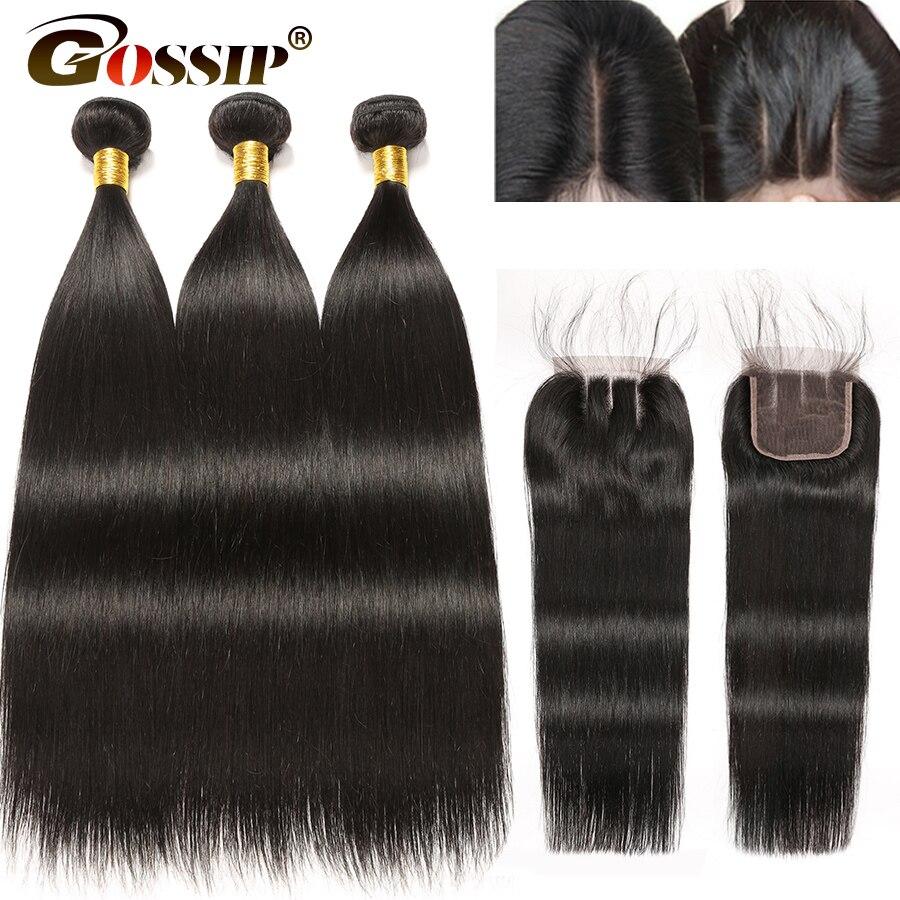 Brazilian Straight Hair Bundles With Closure Gossip Remy 100 Human Hair Bundles With Closure Pre Plucked