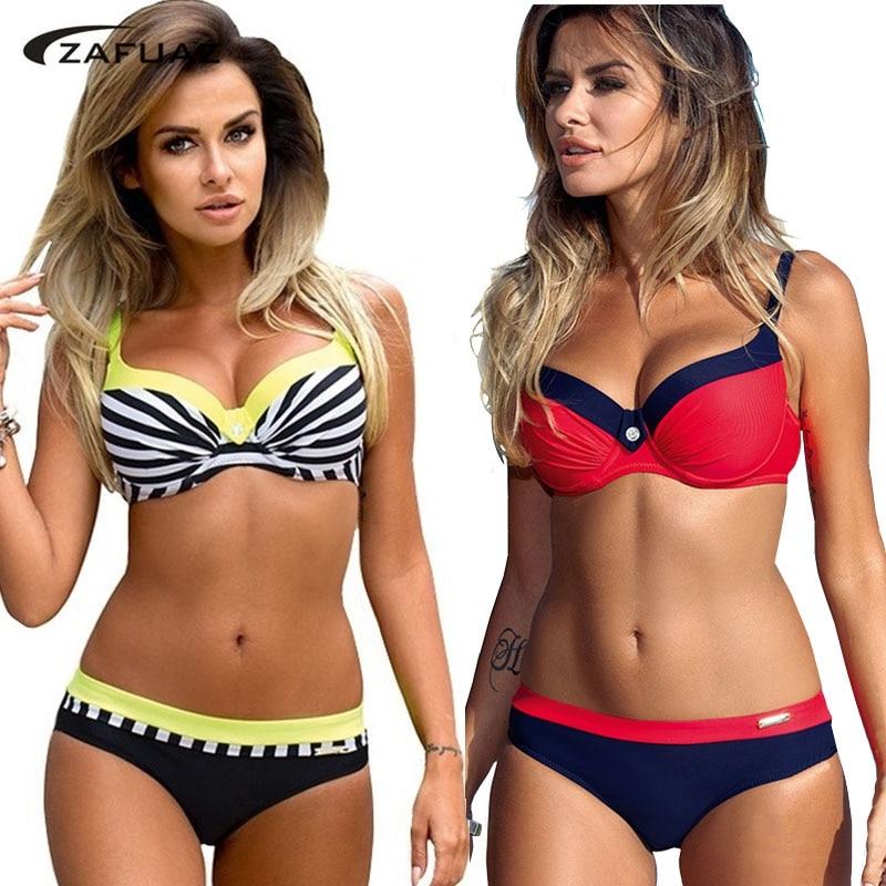 Bikini 2019 Plus Size Swimwear Women Bikini 2019 Striped 2 Piece Swimsuit Tankini Push Up Bathing Suit Beach Wear Biquini S-XXL