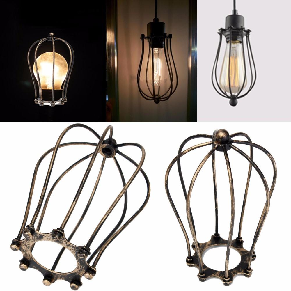 Vintage iron wire bulb cage lampshades hanging lamp holder guard vintage iron wire bulb cage lampshades hanging lamp holder guard shade industrial home light decoration in lamp covers shades from lights lighting on greentooth Image collections