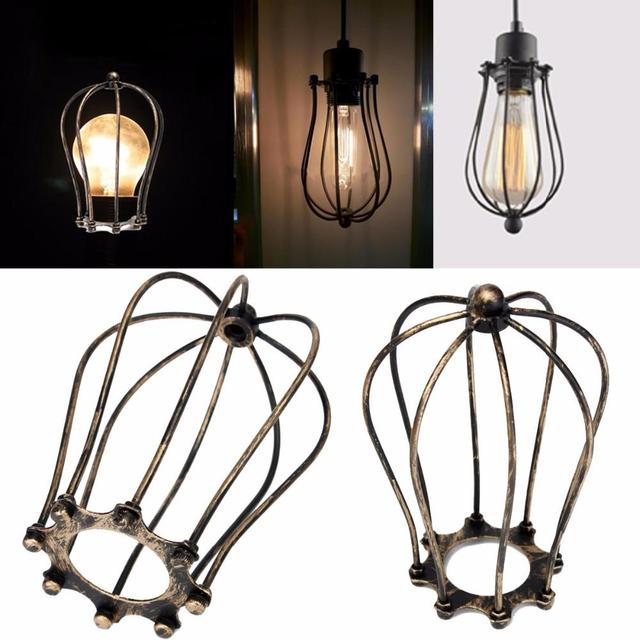 vintage iron wire bulb cage lampshades hanging lamp holder guard rh aliexpress com Lamp Socket Wiring Touch Lamp Wiring
