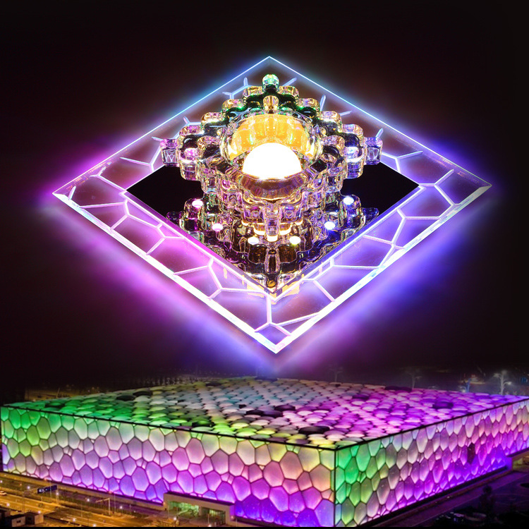 Small Crystal LED Ceiling Light Square Colorful Ceiling Lamp Home Decor Hallway Front Balcony lamp Porch Corridors Light FixtureSmall Crystal LED Ceiling Light Square Colorful Ceiling Lamp Home Decor Hallway Front Balcony lamp Porch Corridors Light Fixture