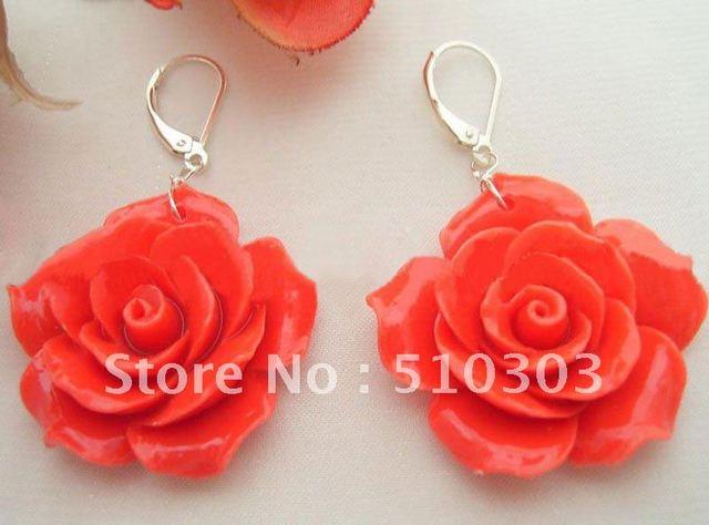 Roja flor de la turquesa pendientes de perlas-925 astilla Lever Back