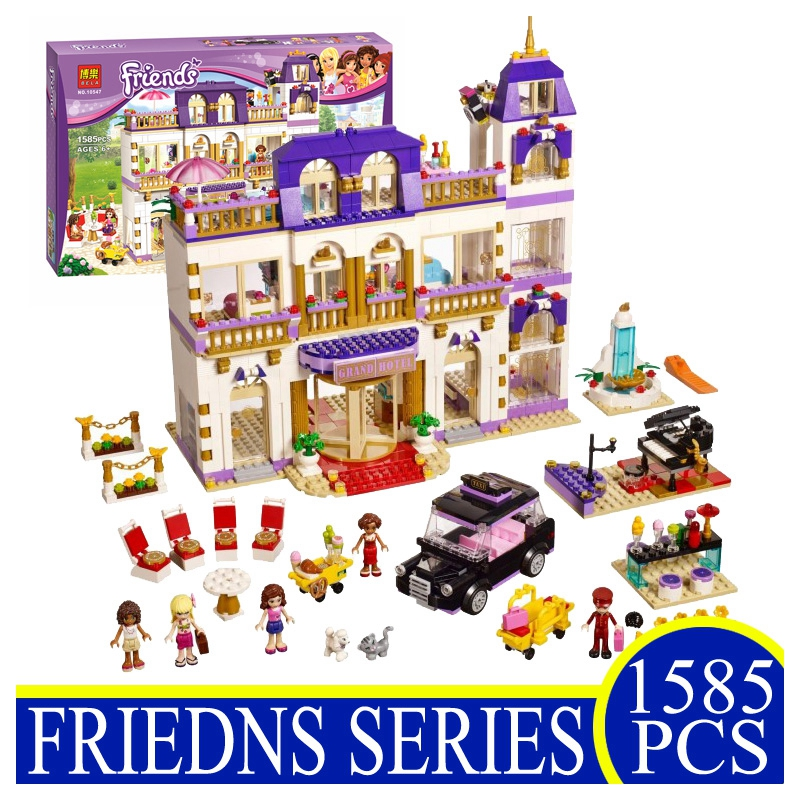 BELA 10547 1585Pcs Friends Heart Lake City Hotel Building Blocks Figures Bricks Toys Children Gifts Compatible Lepin 218 lepin 02012 city deepwater exploration vessel 60095 building blocks policeman toys children compatible with lego gift kid sets