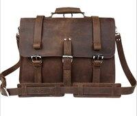 Multifunctional Crazy Horseskin Large capacity Portable Bags Men's Messenger 15.6 laptop Bags