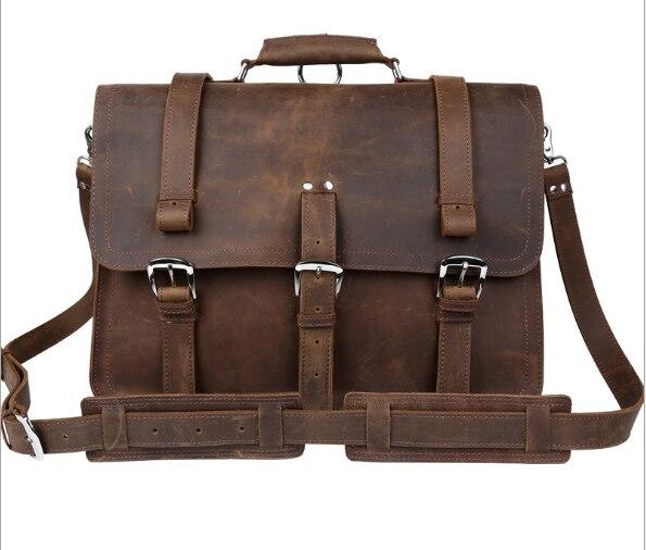 Genial Multifunktionale Verrückten Horseskin Große Kapazität Tragbaren Taschen Männer Messenger 15,6 laptop Taschen Gepäck & Taschen