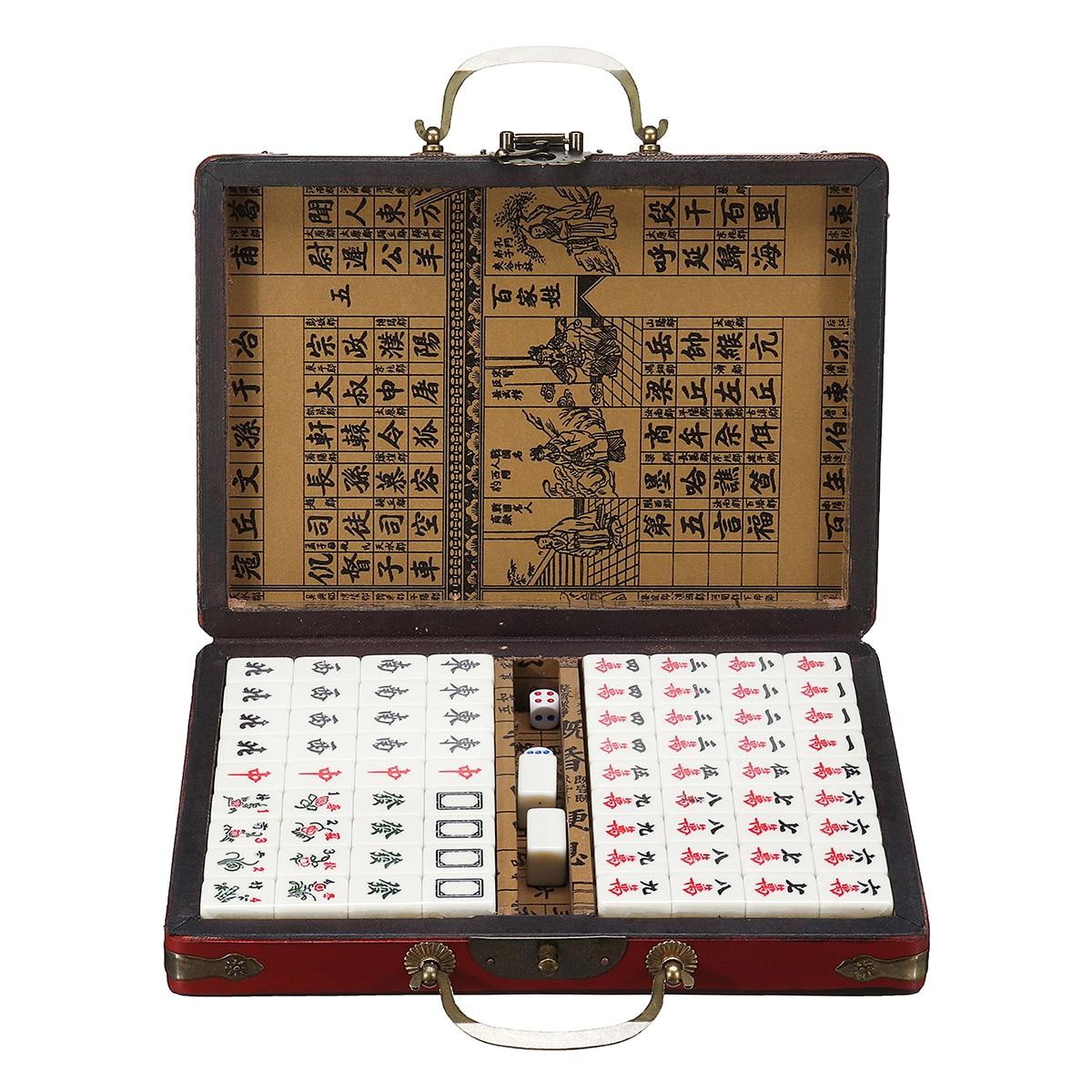 Mah-Jong Set Di Carta di Alta Qualità Giochi 144 Piastrelle Multi-color Portatile Vintage Mahjong Rare Cinese del Giocattolo Con scatola di bambù Regali Del Partito