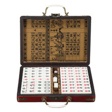 Mah-Jong Set Top Quality Card Games 144 Tiles Multi-color Portable Vintage Mahjong Rare Chinese Toy With Bamboo Box Party Gifts(China)