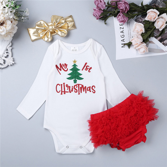 iEFiEL Infant Newborn Baby Girls Christmas Clothes Baby Kids My 1st  Christmas Outfit Sets Infant Baby - IEFiEL Infant Newborn Baby Girls Christmas Clothes Baby Kids My 1st