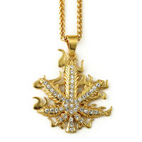 Popular Hip Hop Long Fashion Necklace By 18K Vacuum Plating With Studded Rhinest Hemp Leaf Pendant