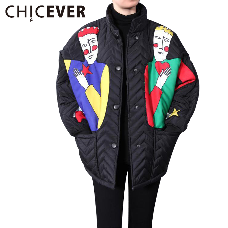 ФОТО [CHECEVER] 2016 Bat Sleeve Female Jacket Women's Winter Coats Parka Character Keep Warm Women Coat New Clothing