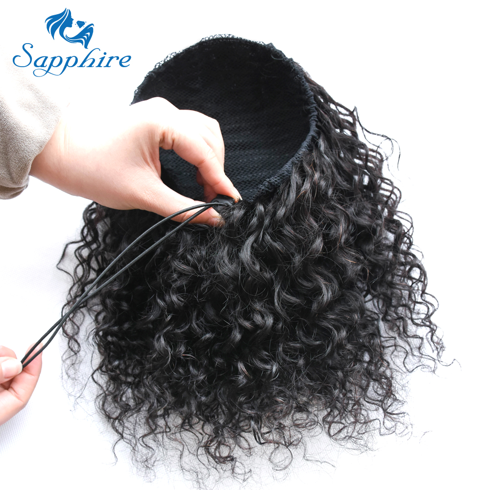 Human Hair Lace Wigs Hair Extensions & Wigs Sapphire Hair Peruvian Kinky Straight Ponytail For Women Natural Black Clip In Ponytails Human Hair Extensions Remy Hair Moderate Price