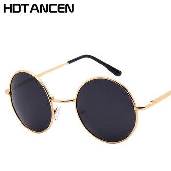 08ae0c122d HDTANCEN nueva marca diseñador clásico polarizado ronda gafas de sol de los  hombres poco Retro John Lennon gafas de conducción se reunió
