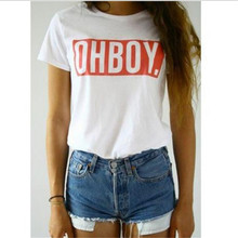 OHBOY Printing Women T-shirt Tops New Fashion Summer Style Tees T shirts Woman Harajuku White Woman Clothing