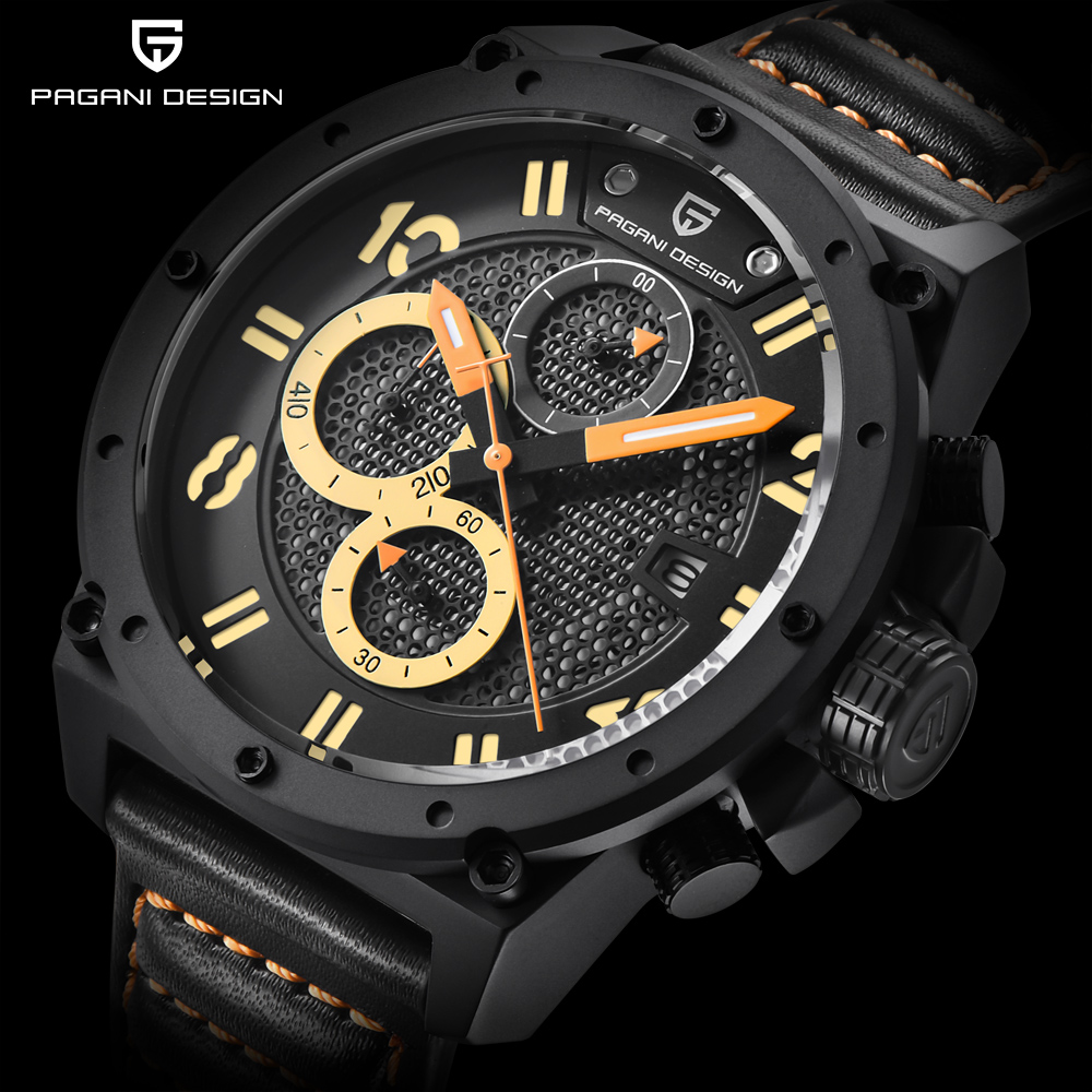 PAGANI DESIGN Chronograph Sports Watches Men Leather Quartz Luxury Brand Waterproof Military Wistwatch Clock Relogio Masculino