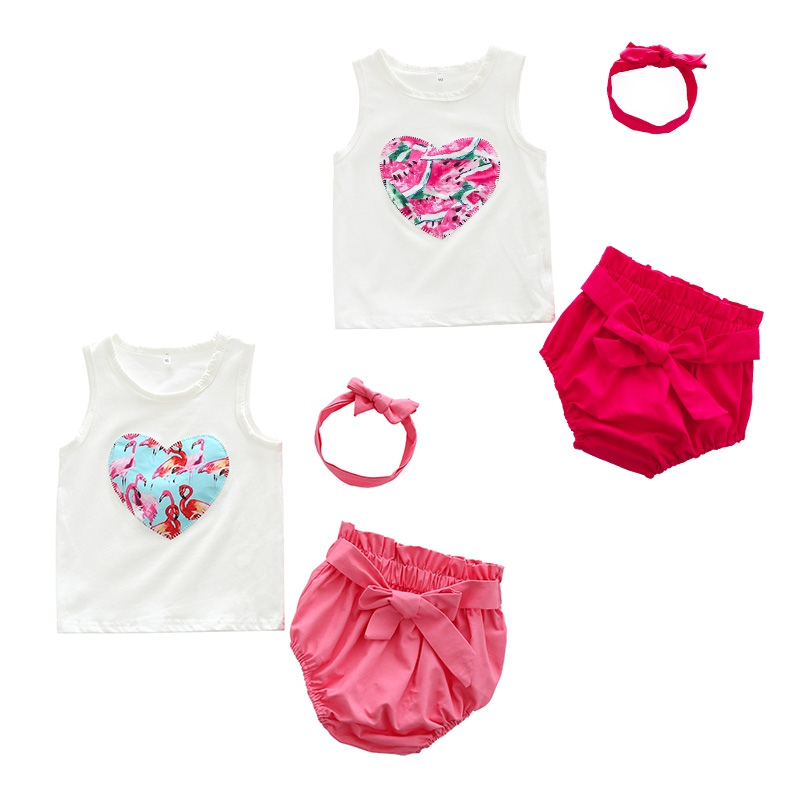 3PCS Summer Baby Girls Cute Clothes Set Infant Kids Sleeveless Vest+Solid Pink Underwear+Headwear Clothing Suit New Arrival ...