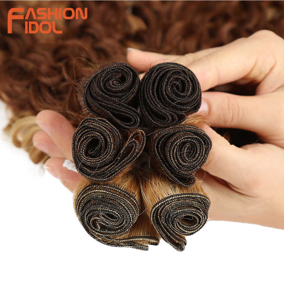 Mode Idol Synthetische Hair Extensions Afro Kinky Krullend Haar Bundels Ombre Blonde 24-28Inch 6 Pcs Hittebestendige voor Zwarte Vrouwen