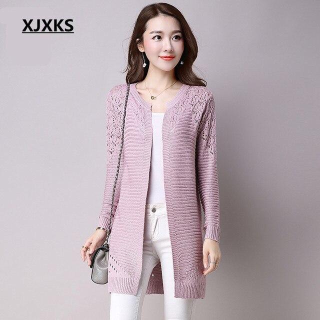 XJXKS חדש 2018 סתיו קוריאני סגנון נשים של סוודר ארוך שרוול אופנה נשית ארוך סעיף סריגי הולו תחרת קרדיגן מעיל