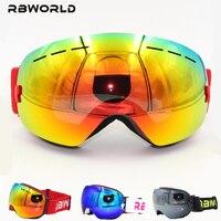 New RBWORLD Brand Ski Goggles Double Layers UV400 Anti Fog Big Ski Mask Glasses Skiing Men