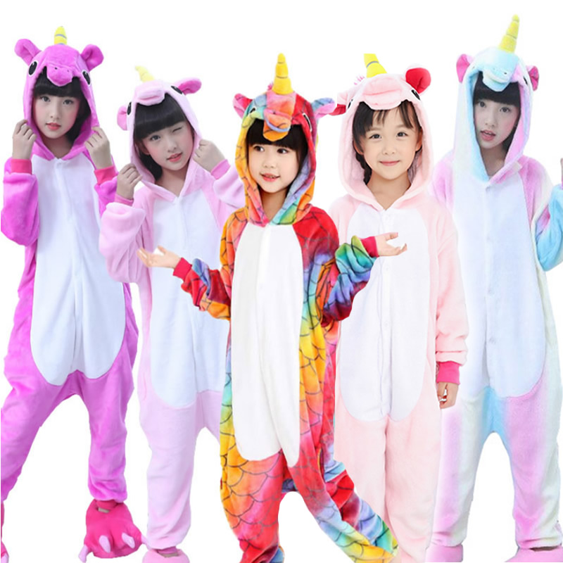 Winter Kigurumi Children Pajamas Set Unicorn Hooded Animal Unicorn Pajamas Stitch Kids Pajamas For Boys Girls Sleepwear Onesies(China)
