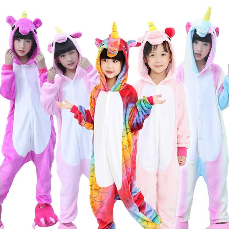 Winter Kigurumi Children Pajamas Set Unicorn Hooded Animal Unicorn Pajamas Stitch Kids Pajamas For Boys Girls Sleepwear Onesies