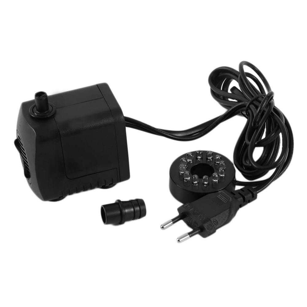 15W AC 220-240V 12 LED Submersible Water Pump For Aquarium Fountain Fish Tank Pond Decoration Led Light Water Pump